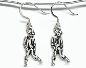 Halloween Zombie Earrings Silver Plated Pewter with Sterling Silver Earwires Gift Boxed