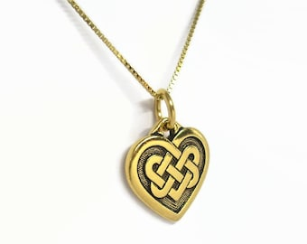 """Celtic Endless Love Knot Heart Necklace Antiqued Gold Finish with 18"""" Box Chain Gold Plated Sterling Silver"""