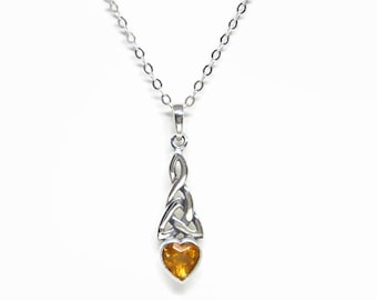 """November Birthstone Celtic Knotwork Necklace with Golden Topaz CZ Heart All Sterling Silver 16"""" or 18"""" Cable Chain Boxed"""