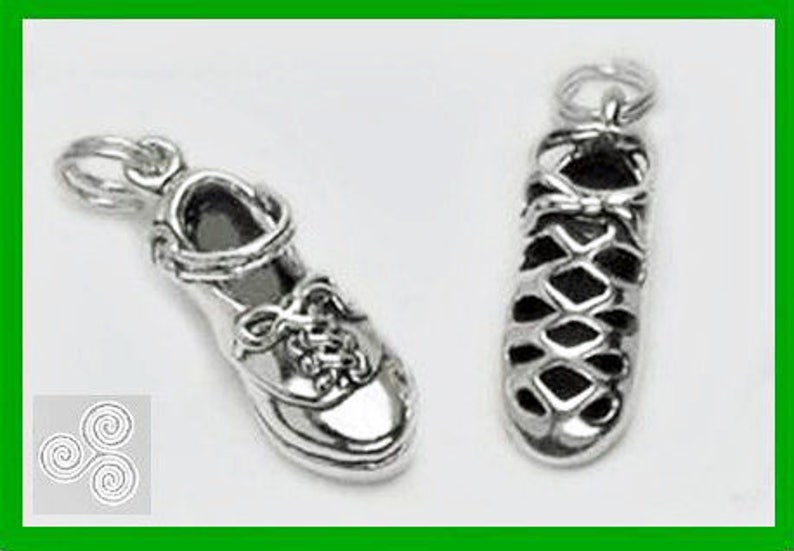 Irish Dance Charm Set All Sterling Silver Ghillie and Hard Shoe in Gift Box Jig