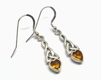 November Birthstone Earrings Topaz CZ Hearts Celtic Knotwork Trinity All Sterling Silver Dangle Style Boxed