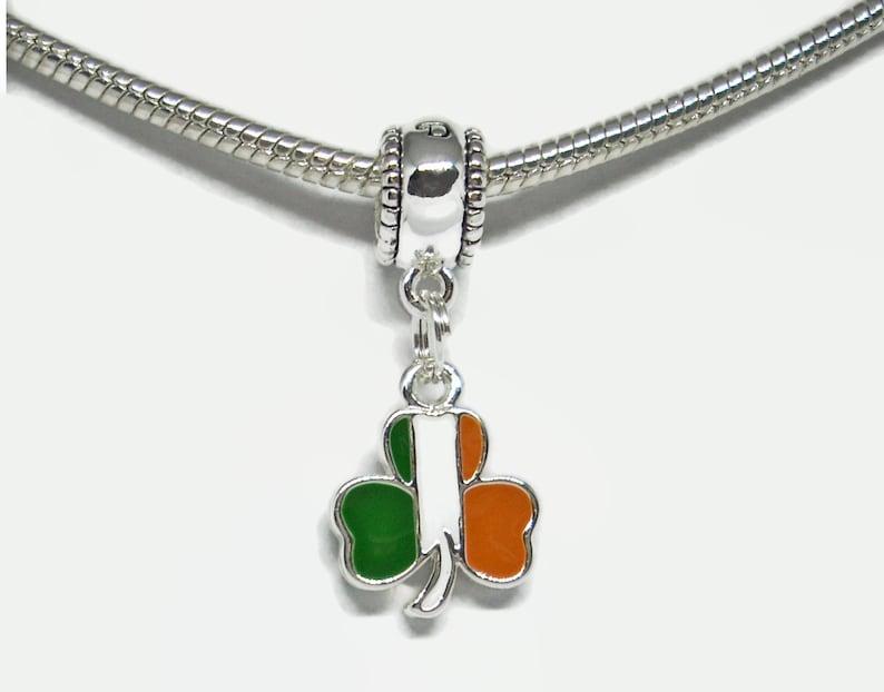 cf979a4e6d4e8 Irish Flag Shamrock Large Hole European Bead Irish Heritage Ireland Emerald  Isle Irish Pride