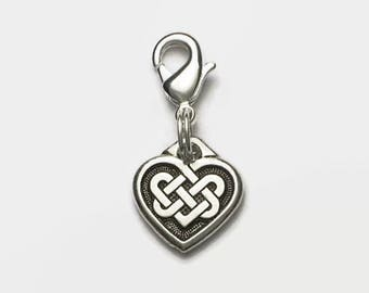 Celtic Knotwork Heart Clip On Charm Valentine Wedding Boxed
