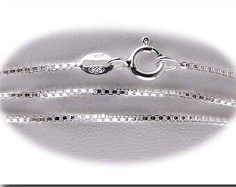"""Sterling Silver Box Chain 0.96mm Dia. Choice of 16"""" or 18"""" Spring Clasp Italian Made"""