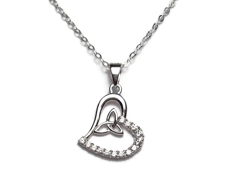 cdac7f676 Sterling Silver Celtic Trinity Knot Heart Delicate Necklace | Etsy