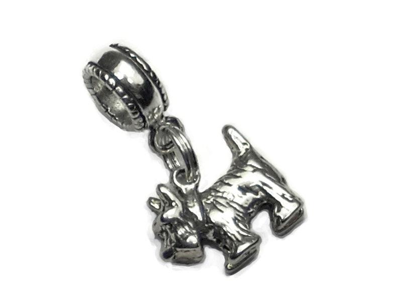 Celtic Knot Charm Bead Scottie Dog Silhouette