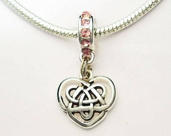Celtic Knotwork Heart Large Hole European Bead Lt Rose Pink Crystal Rondelle