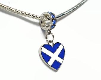 Scottish Saltire Flag Heart Large Hole European Bead Sapphire Blue Crystal Rondelle Alba Collection Scottish Pride