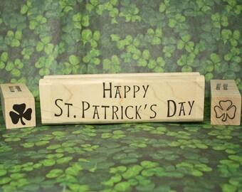 Happy St Patricks Day Rubber Stamp Set of 3 Irish Shamrocks Ireland