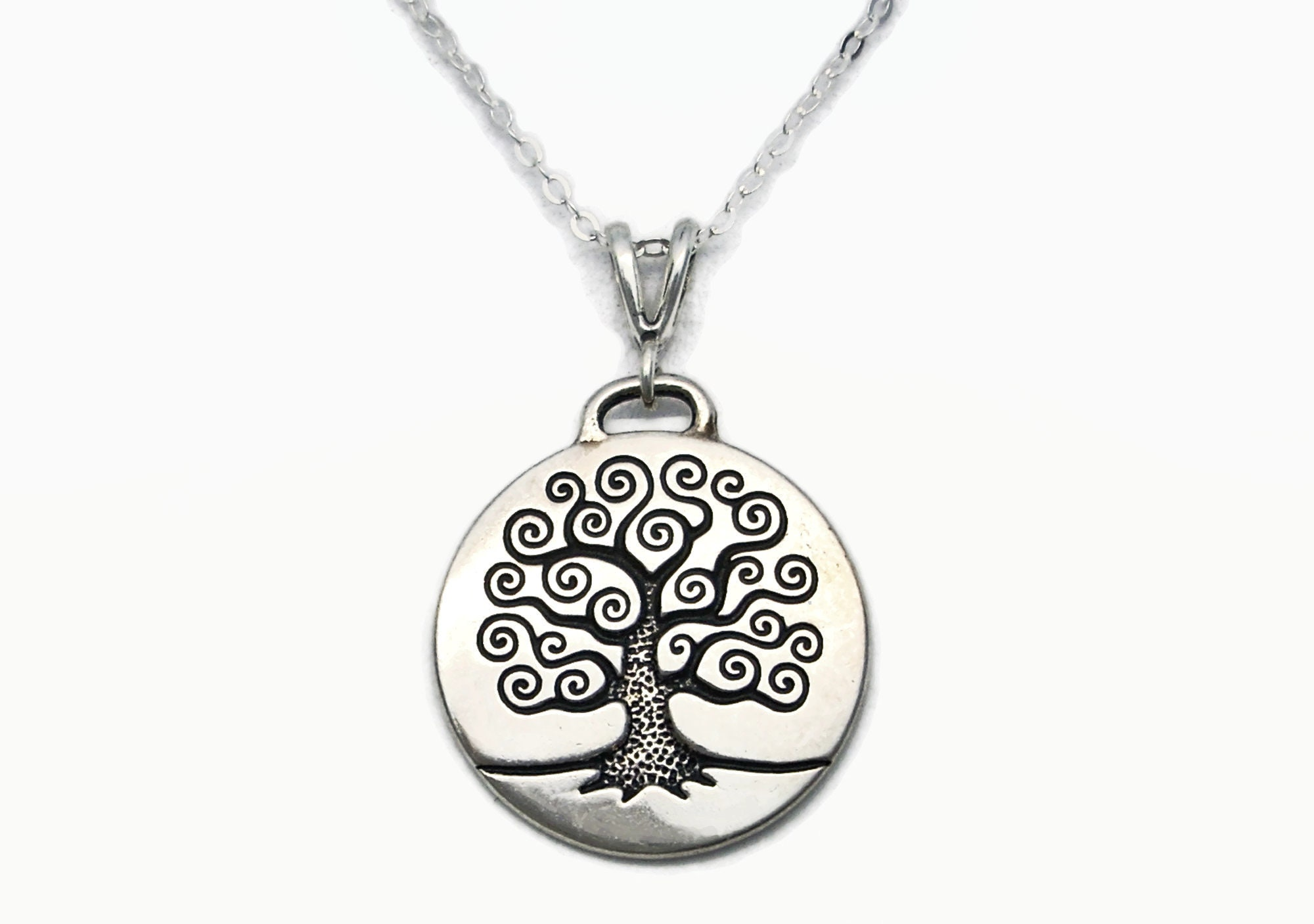 Swirled Tree Of Life New 925 Sterling Silver Pendant Charm With Heart