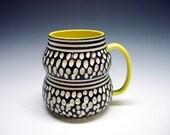 Stylish Porcelain Mug YELLOW black white