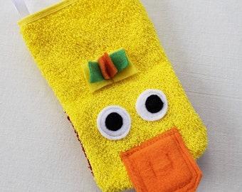 Kids Yellow Duckie Bath Mitt-Puppet-Washcloth