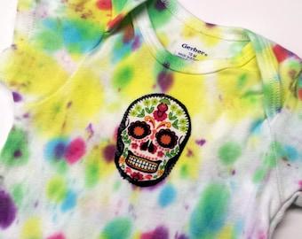 Tie Dye Sugar Skull Onesie-Baby Girl-Boy-18 month-Unisex