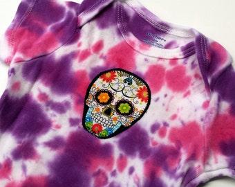 Tie Dye Sugar Skull Onesie-Baby Girl-18 month-Baby Gift