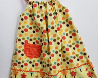 Toddler Girls Dress-Size2 with adjustable straps- Polka Dot Jumper-Sundress-Girl Pillowcase Dress