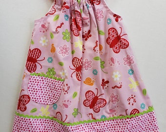 Girls Dress-Size 3 with adjustable straps- Butterfly Print- Jumper-Sundress-Pillowcase Dress-Ready to Ship