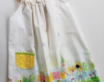 Toddler Girls Dress-Size2 with adjustable straps- Flying Kites Print Jumper-Sundress