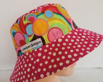 Kids Reversible Bucket Hat-Size 3-5 years-Beach Hat-Girl-Kids Sun Hat