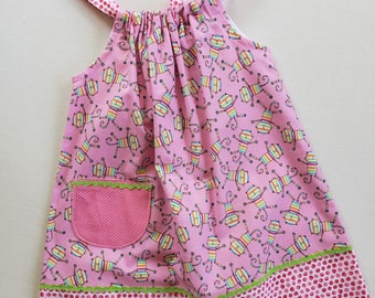 Girls Dress-Size 3 with adjustable straps- Crazy Cats Print Jumper-Sundress-Ready to Ship