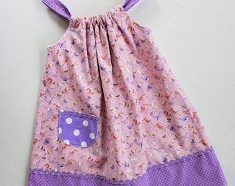 Toddler Girls Dress-Size2 with adjustable straps- Pink Birds Print Jumper-Sundress-Baby dress