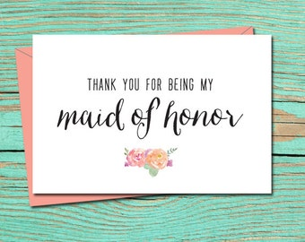Thank You For Being My Bridesmaid Printable Card Wedding Card Etsy