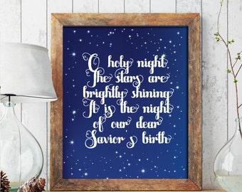 Christmas PRINTABLE ART, oh Holy Night Christmas Printable, Christian Decor, Holiday Decor, Christmas Print, Wreath, Christmas Printable 215