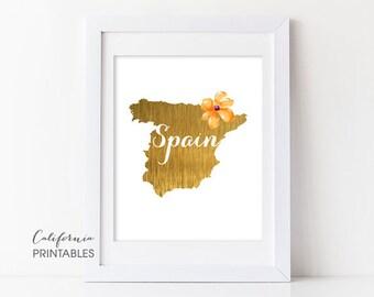 Spain Printable Art, Spain Print Art, Spain Map Printable, Faux Gold Foil, Printable Wall Art, Housewarming Gift, Country Maps, Spain Map 85