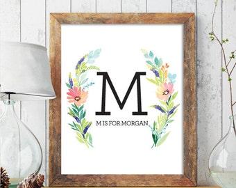 Custom Monogram Art Nursery Letter Print, Monogram Nursery Wall Art, Nursery Monogram Name Print, Personalized Baby Name, Wreath Print 209