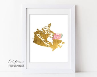 Canada Printable Art, Canada Print Art, Canada Map Printable, Faux Gold Foil, Printable Wall Art, Housewarming Gift, Country Maps, Canada 85