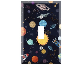 SOLAR SYSTEM Wall Plate Cover, Solar System Light Switch Cover, Custom Light Switch, Space Switch Plate, Space Room Decor, Space Gift TF89