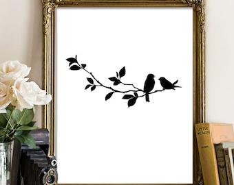 Black and White Printable, Downloadable Art, Bird Wall Art, Sparrow Print, Love Bird Print, Printable Wall Art, Home Decor, Minimalist Print