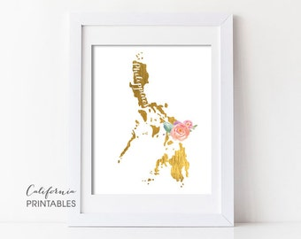 Philippines Printable, Philippines Print, Philippines Map, Faux Gold Foil, Printable Wall Art, Housewarming Gift, Country Map, Destination85