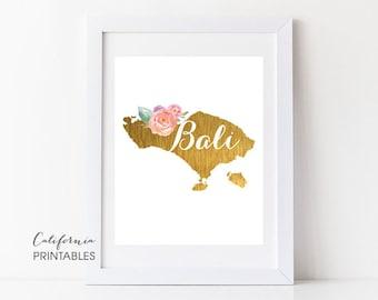 Bali Printable Art, Bali Print Art, Bali Map Printable, Faux Gold Foil, Printable Wall Art, Housewarming Gift, Country Maps, Bali Map 85