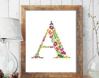 Floral Monogram Nursery Letter Art, Nursery Monogram Name Print, Personalized Baby Wall Art, Floral Monogram Printable, Nursery Printable222