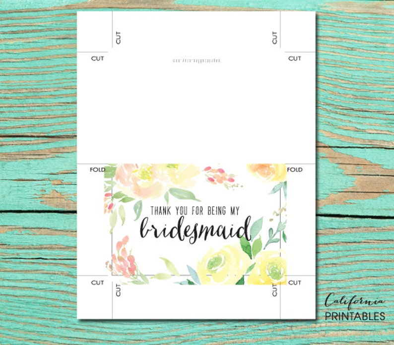 thank you for being my bridesmaid printable card wedding