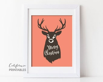 Christmas PRINTABLE ART, Oh Deer Merry Christmas Printable, Winter Decor, Holiday Decor, Christmas Print, Wreath, Christmas Printable 213