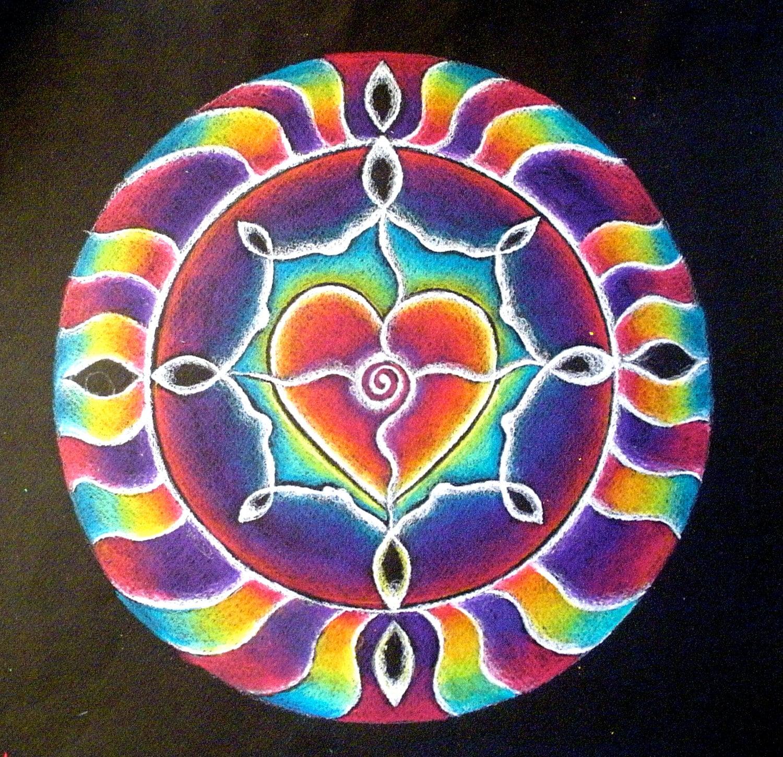 Rainbow Heart Mandala Drawing Matted Print heart energy | Etsy