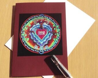 Window to The Heart Mandala Greeting Card