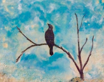 Encaustic Bird painting  Hope is a Thing with Feathers.  Bird beeswax. Mixed media