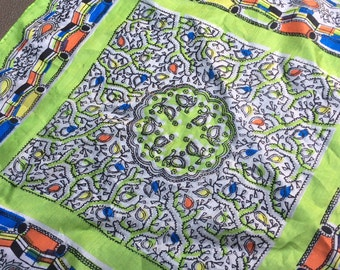 Vintage 1970s paisley silk scarf lime green