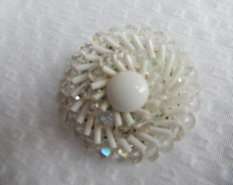 1960s beaded white/ clear brooch West Germany