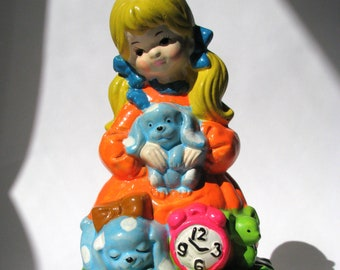 Vintage - Ceramic - Music Box - Figurine - Blonde Girl - Clock - Dogs - Mouse - Day-Glo - Fluorescent - Sankyo - Japan - Spins Around - Gift