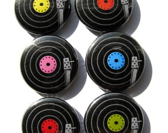 LPs - Vinyl - Records buttons or magnets (set of 6)