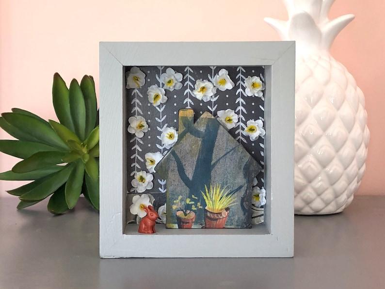 shadowbox art inexpensive art rabbit plants House found object Christmas gift small art friend gift housewarming flowers
