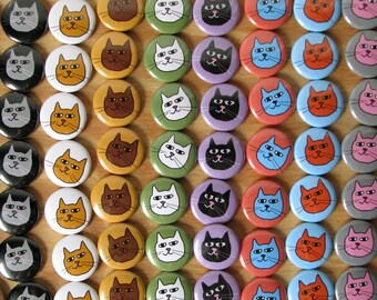 "Cats - Cat Heads - Kittens - Doodle - 1"" Round Buttons or magnets (set of 6) - Cat Lover - Animals - Gift Under 10 Dollars - Pets - Multi"