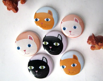Cats - Peeking Cat Heads - Magnets or Buttons (set of 6)