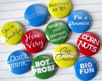 Heathers Winona Ryder Magnets or Buttons (set of 11)