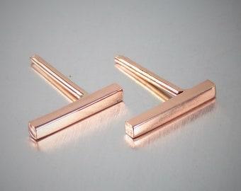 SOLID 14K Rose Gold Earrings, Bar Earrings, Studs, Stick Earrings, Post Earrings