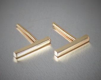 SOLID 14K Yellow Gold Earrings, Bar Earrings, Studs, Stick Earrings, Post Earrings
