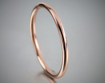 SOLID 14K Round Wire Rose Gold Engagement Ring, 14K Solid Rose Gold Ring 1.5 mm, Promise Rings, Wedding Rings